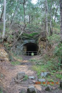 Lahey's Canungra Tramway Tunnel ; Heritage Branch staff