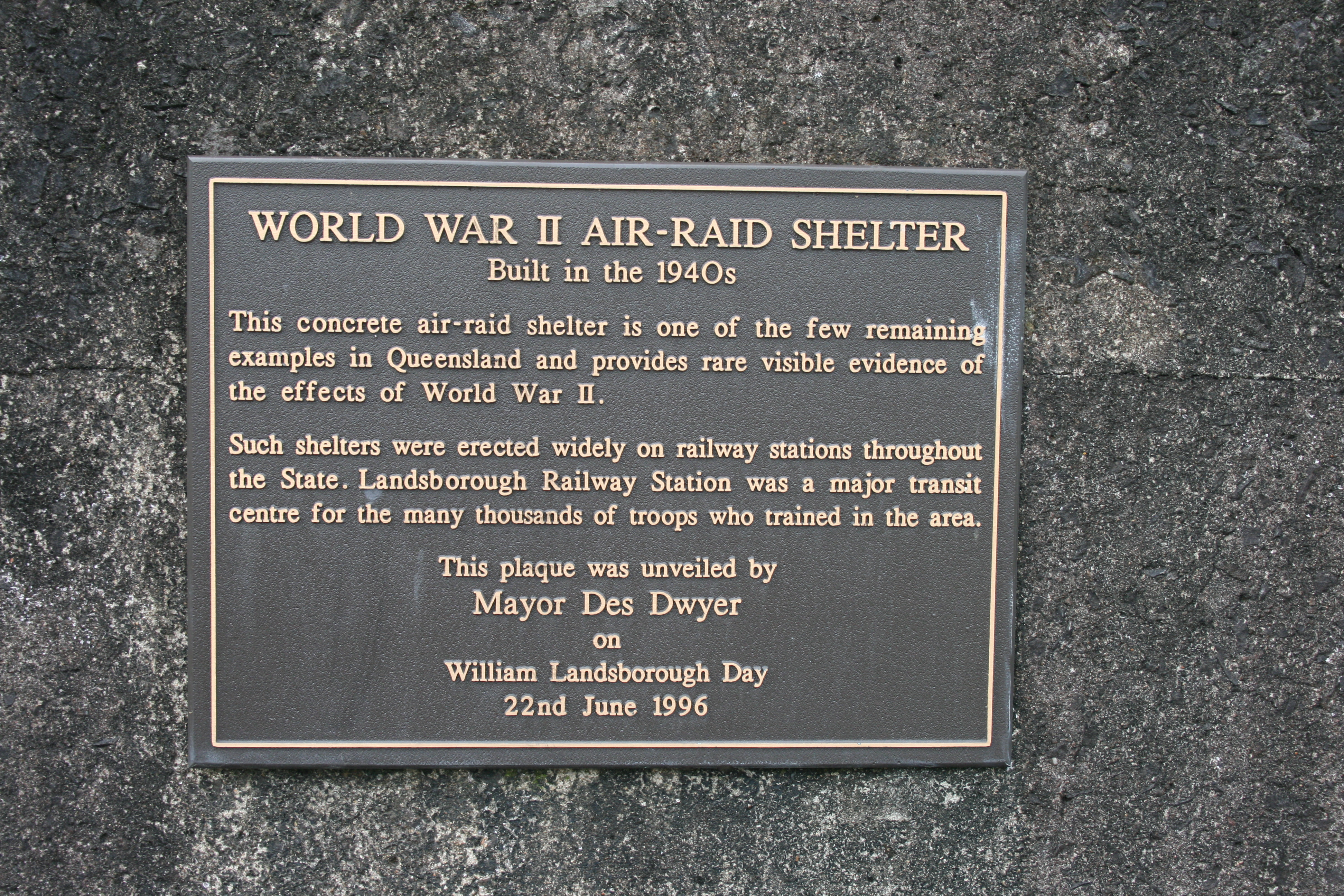 Public Air Raid Shelter Landsborough Railway Station