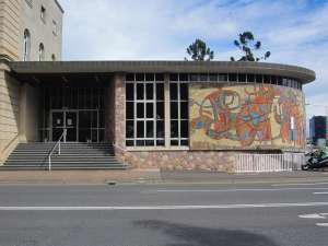 State Library (former) entrance from NE (2015); Vic Bushing