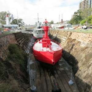 View of the South Brisbane Dry Dock (EHP, 2016); Heritage Branch staff