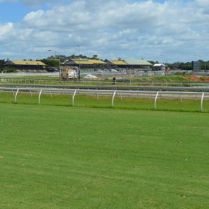 Eagle Farm Racecourse, from NE, looking across racecourse toward grandstands (DES, 2018); Heritage Branch Staff; DES