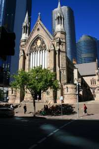 St Stephens Cathedral from Elizabeth Street (2009); Heritage Branch staff