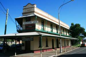 Engineers' Arms Hotel (former), cnr March, Bowen and Kent Streets (2009); Heritage Branch staff