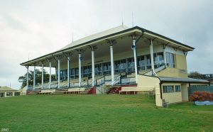 Grandstand, former totalisator building and main entrance gates, Cluden Racecourse (2000); Heritage Branch staff